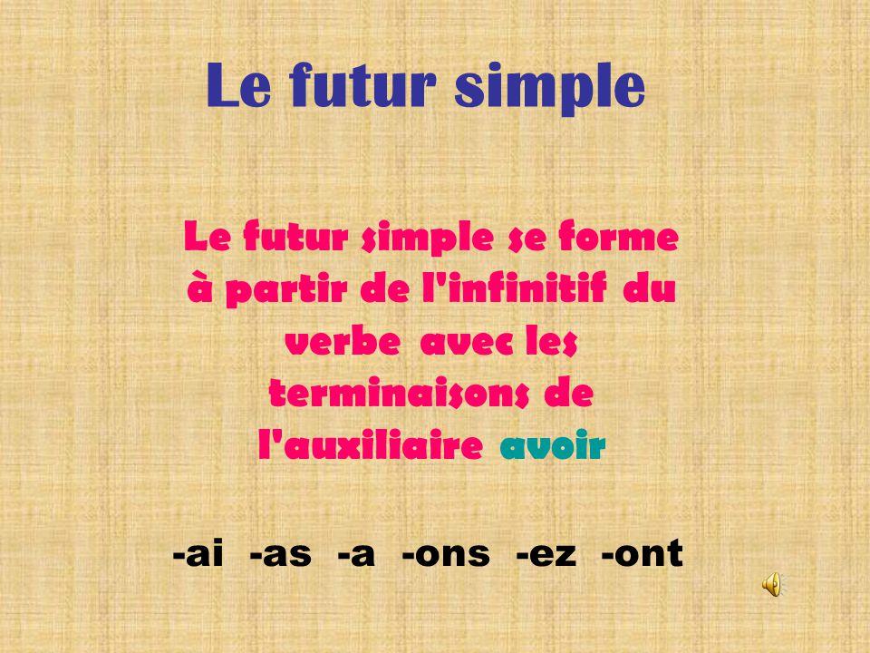 Le futur simple Le futur simple se forme à partir de l infinitif du verbe avec les terminaisons de l auxiliaire avoir.