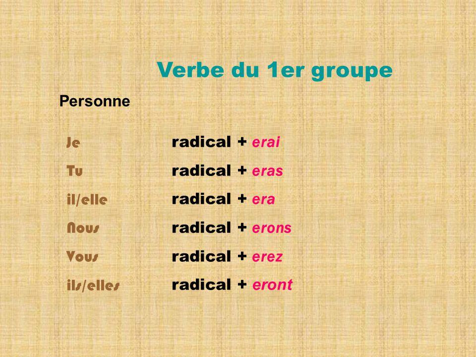 Verbe du 1er groupe Personne Je Tu il/elle Nous Vous ils/elles