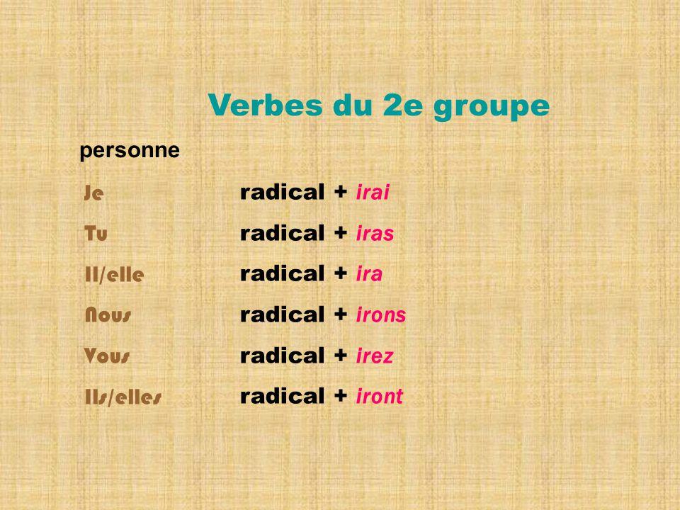 Verbes du 2e groupe personne Je Tu Il/elle Nous Vous Ils/elles