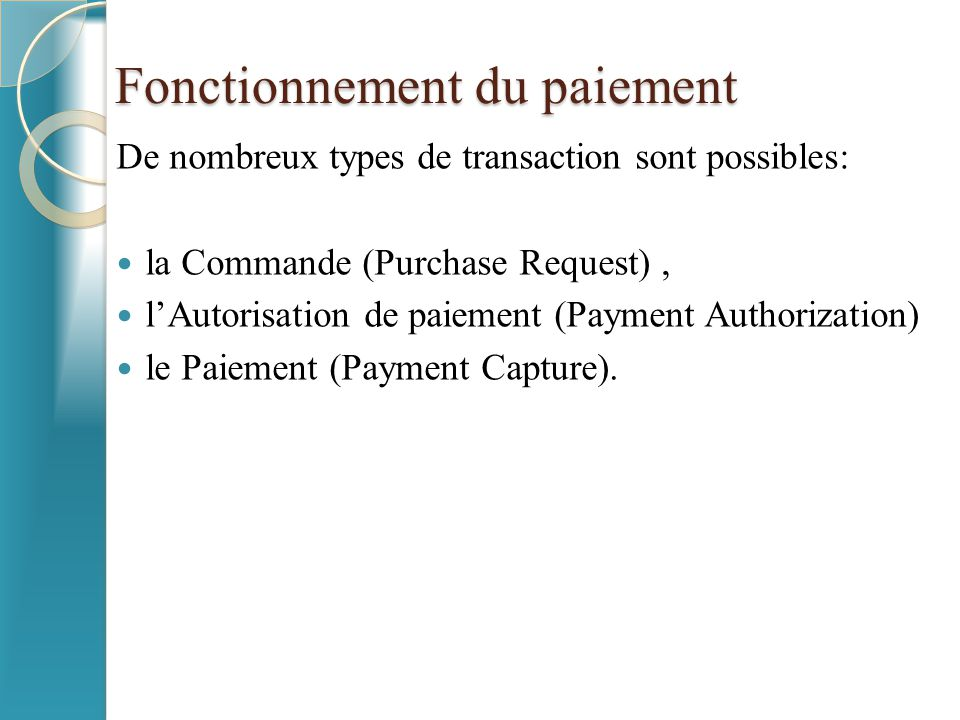 Fonctionnement du paiement