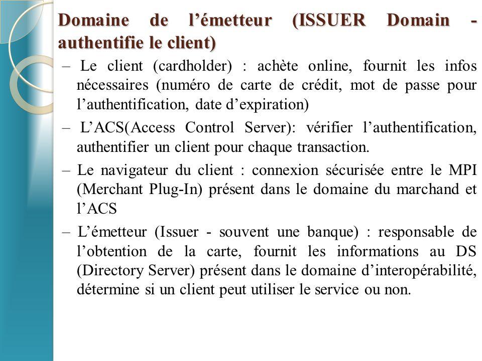 Domaine de l'émetteur (ISSUER Domain - authentifie le client)