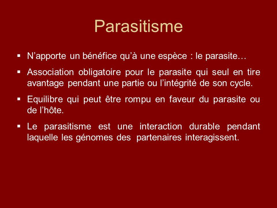 Parasitisme N'apporte un bénéfice qu'à une espèce : le parasite…