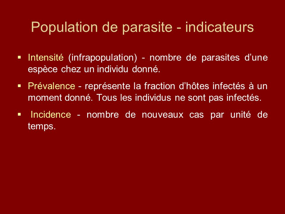 Population de parasite - indicateurs