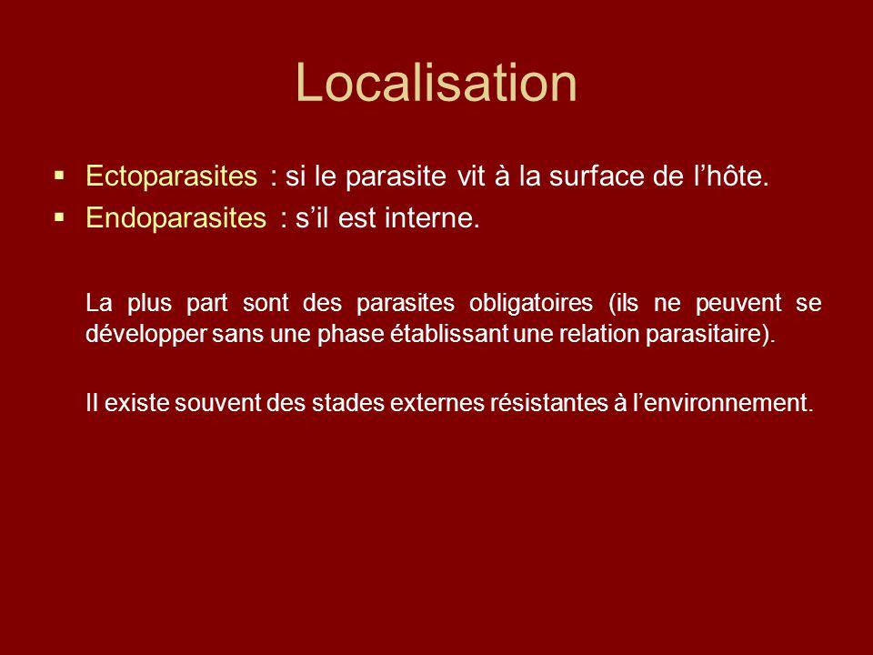Localisation Ectoparasites : si le parasite vit à la surface de l'hôte. Endoparasites : s'il est interne.