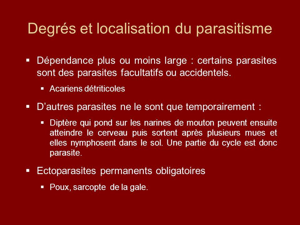 Degrés et localisation du parasitisme