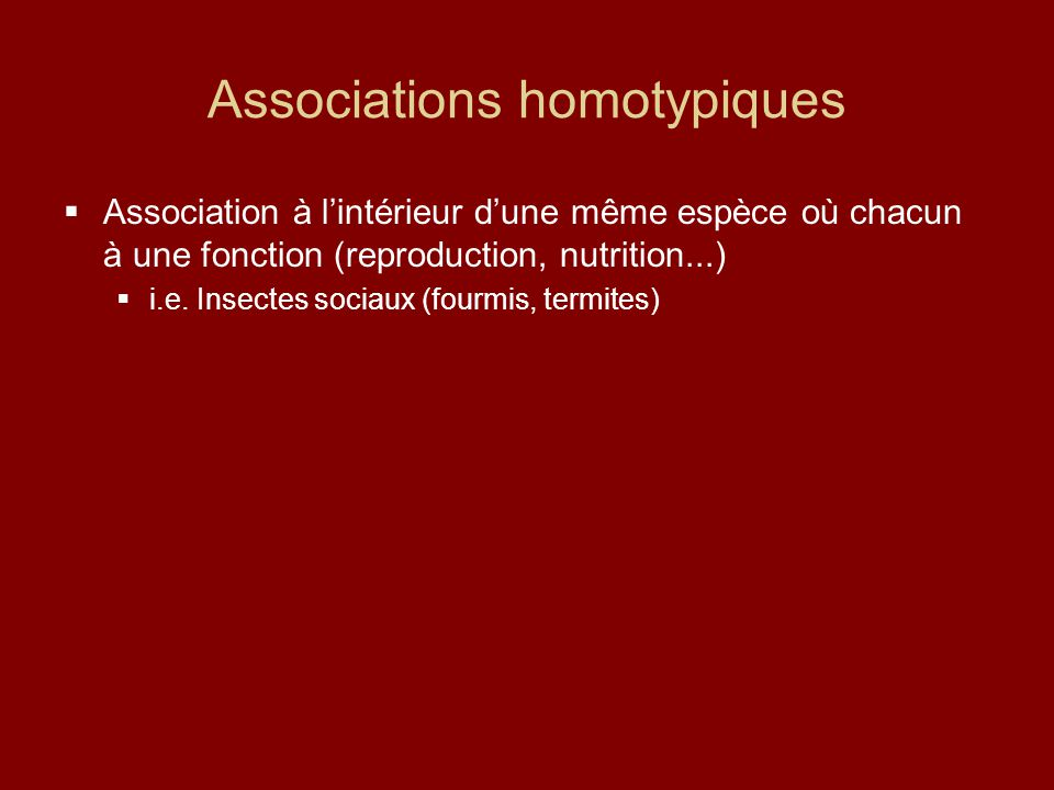 Associations homotypiques