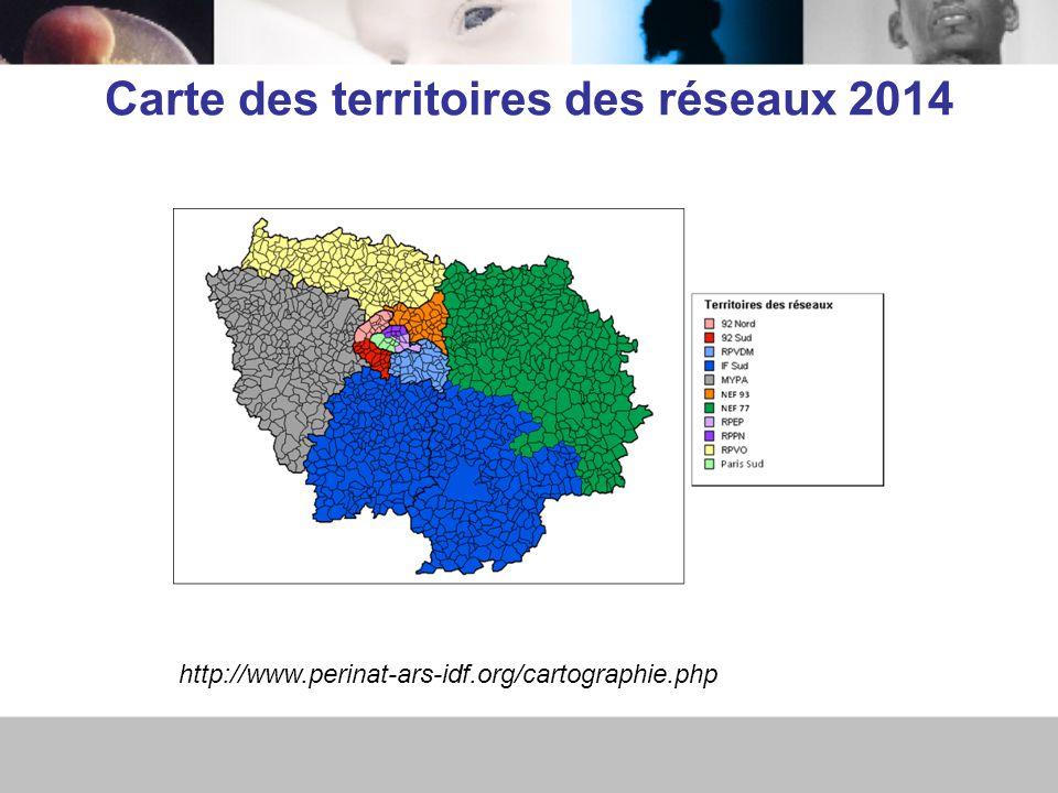 Carte des territoires des réseaux 2014