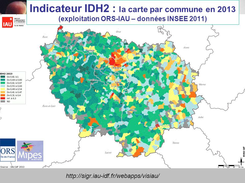 Indicateur IDH2 : la carte par commune en 2013 (exploitation ORS-IAU – données INSEE 2011)