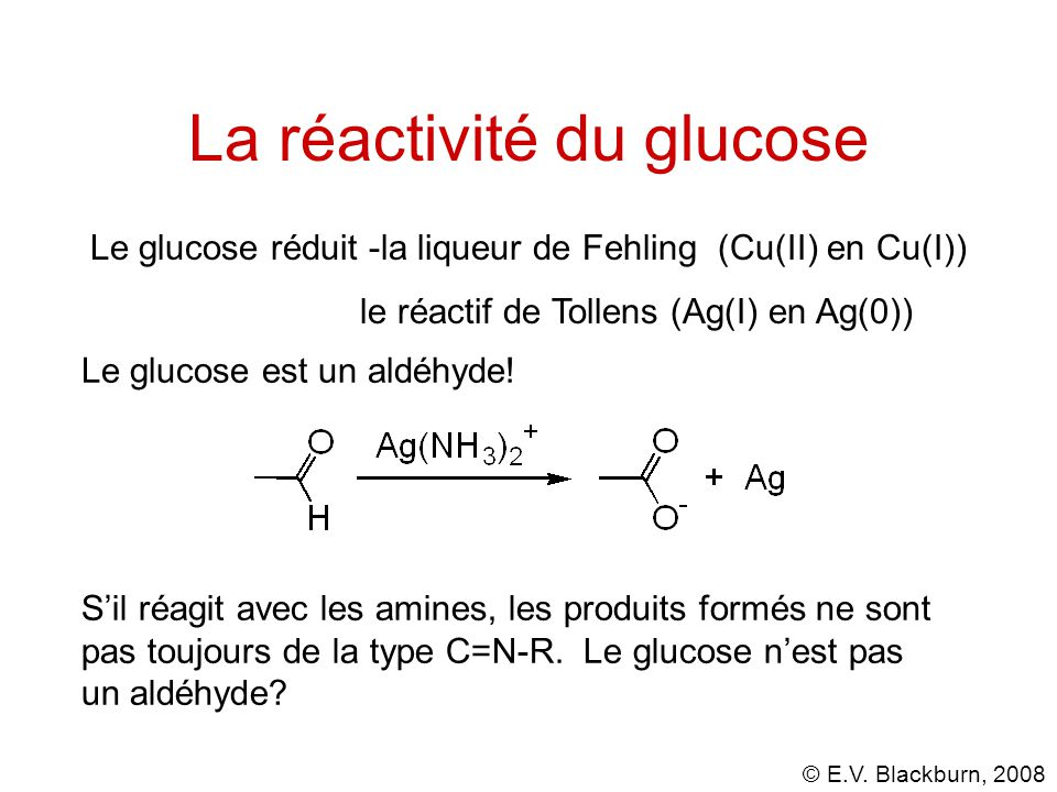 La réactivité du glucose