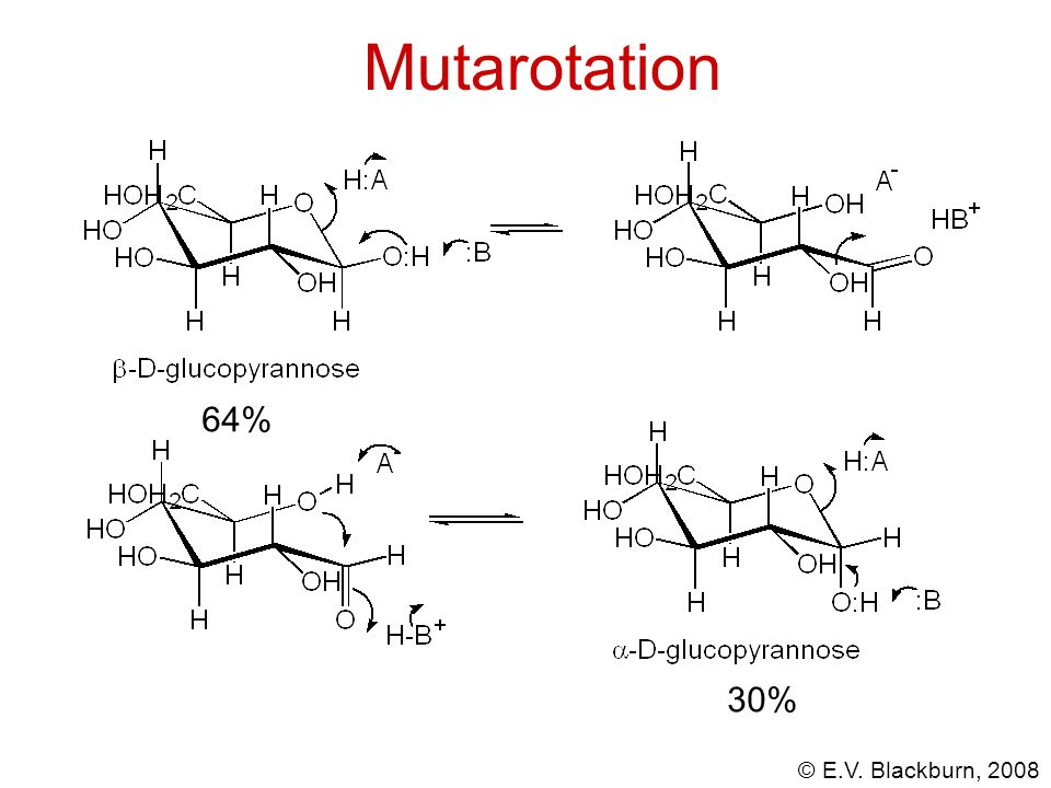 Mutarotation 64% 30%
