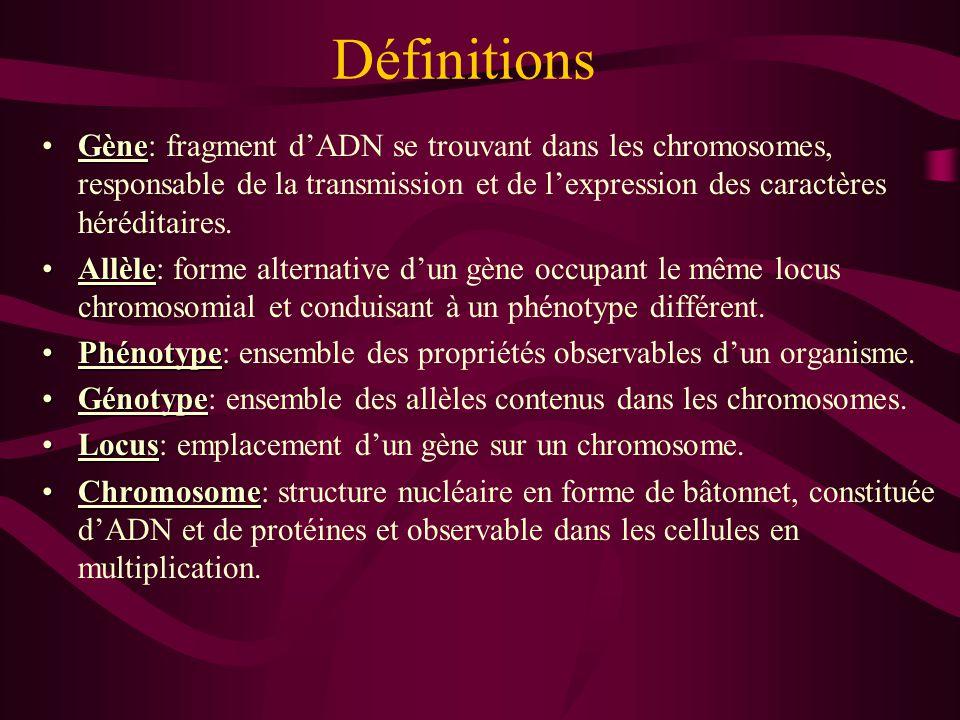 Définitions Gène: fragment d'ADN se trouvant dans les chromosomes, responsable de la transmission et de l'expression des caractères héréditaires.