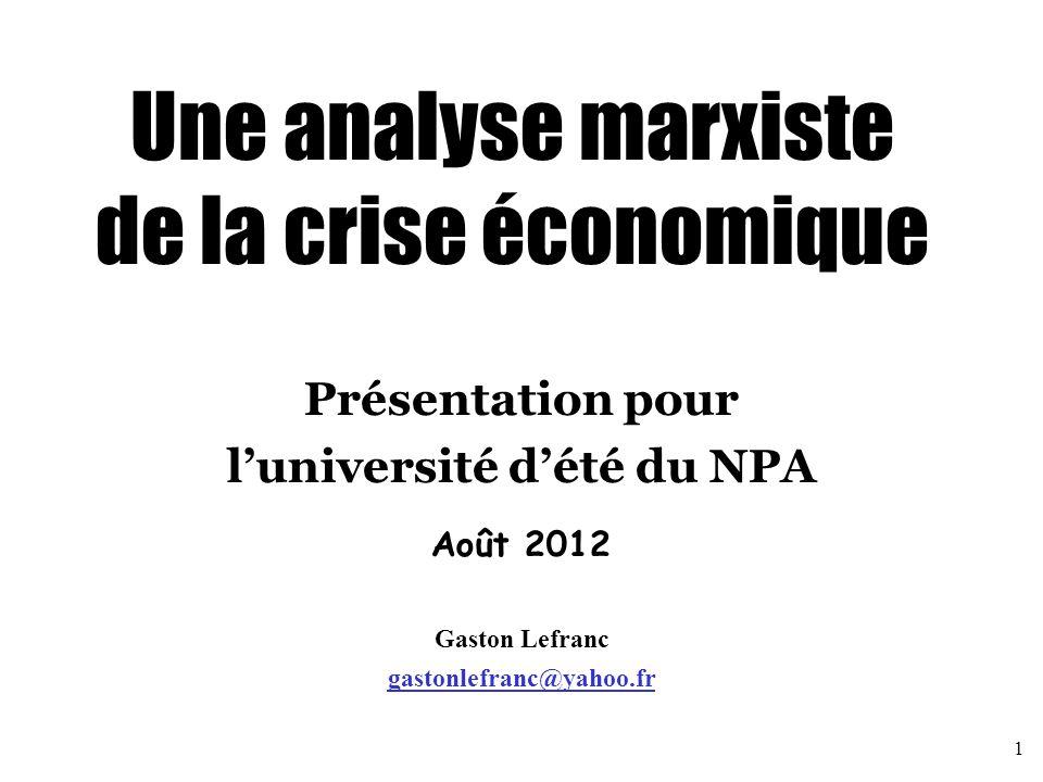 Une analyse marxiste de la crise économique