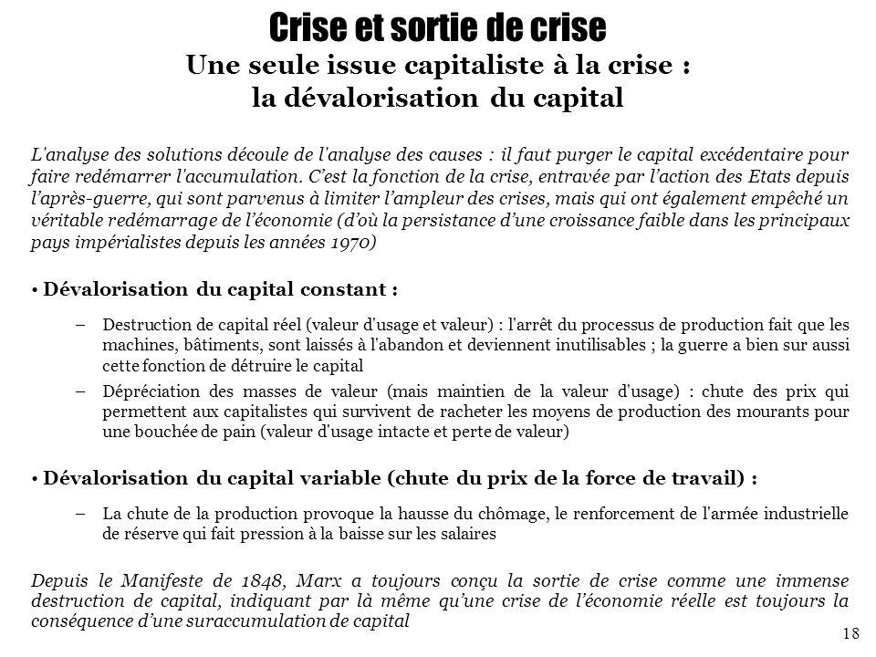 Crise et sortie de crise Une seule issue capitaliste à la crise : la dévalorisation du capital