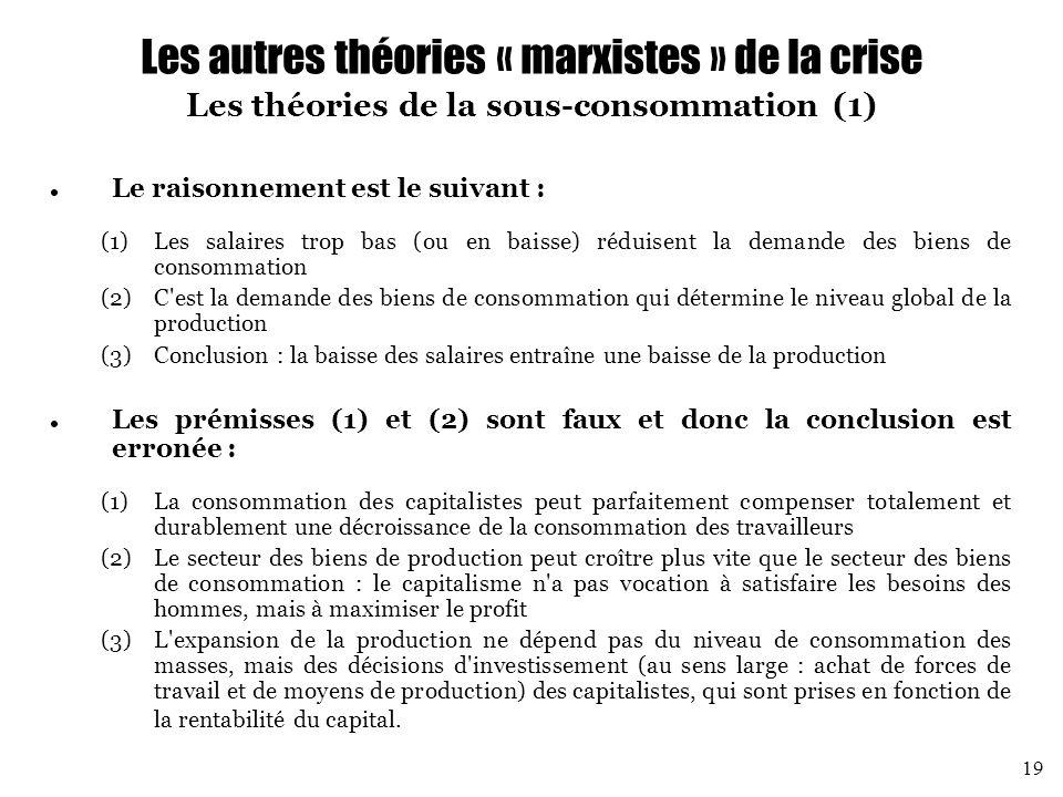 Les autres théories « marxistes » de la crise Les théories de la sous-consommation (1)