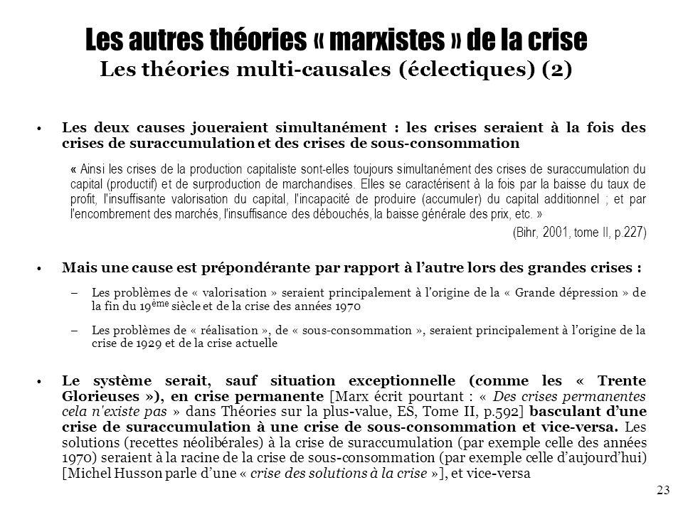 Les autres théories « marxistes » de la crise Les théories multi-causales (éclectiques) (2)