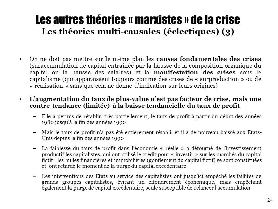 Les autres théories « marxistes » de la crise Les théories multi-causales (éclectiques) (3)