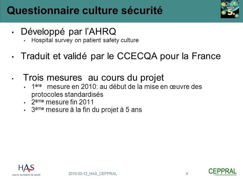 Questionnaire culture sécurité