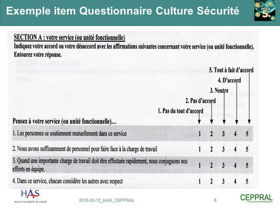 Exemple item Questionnaire Culture Sécurité