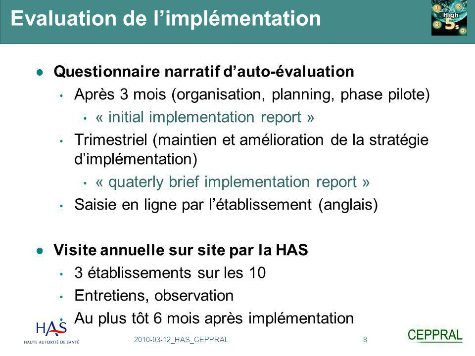 Evaluation de l'implémentation