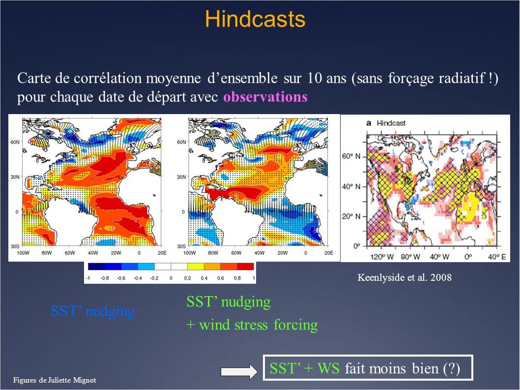 Hindcasts Carte de corrélation moyenne d'ensemble sur 10 ans (sans forçage radiatif !) pour chaque date de départ avec observations.