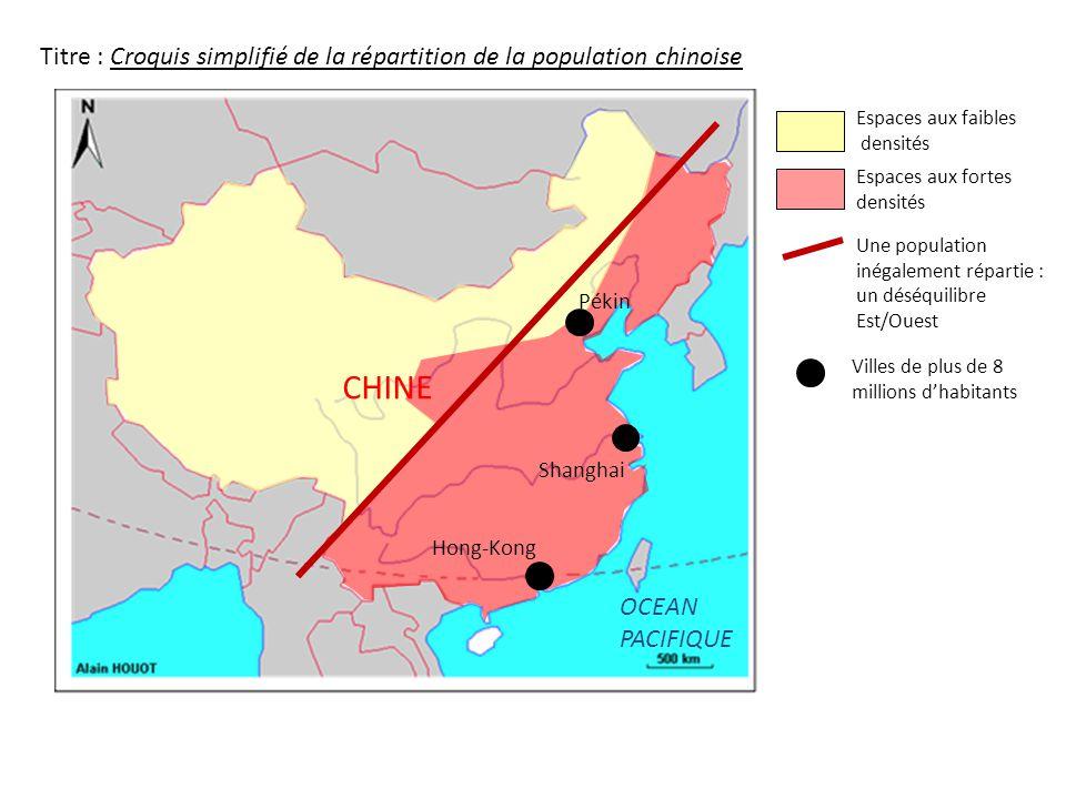 Titre : Croquis simplifié de la répartition de la population chinoise