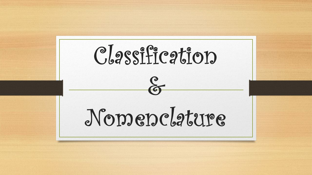 Classification & Nomenclature