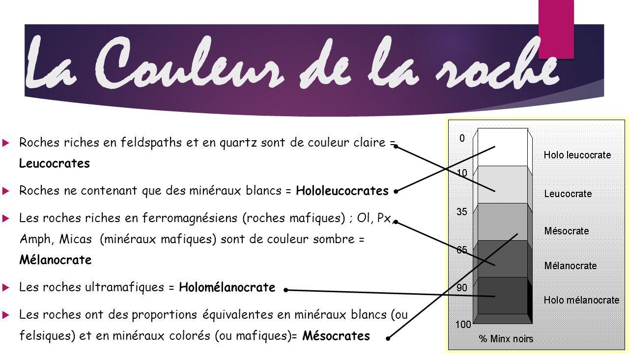 La Couleur de la roche Roches riches en feldspaths et en quartz sont de couleur claire = Leucocrates.