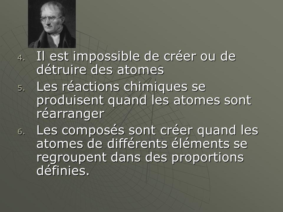Il est impossible de créer ou de détruire des atomes