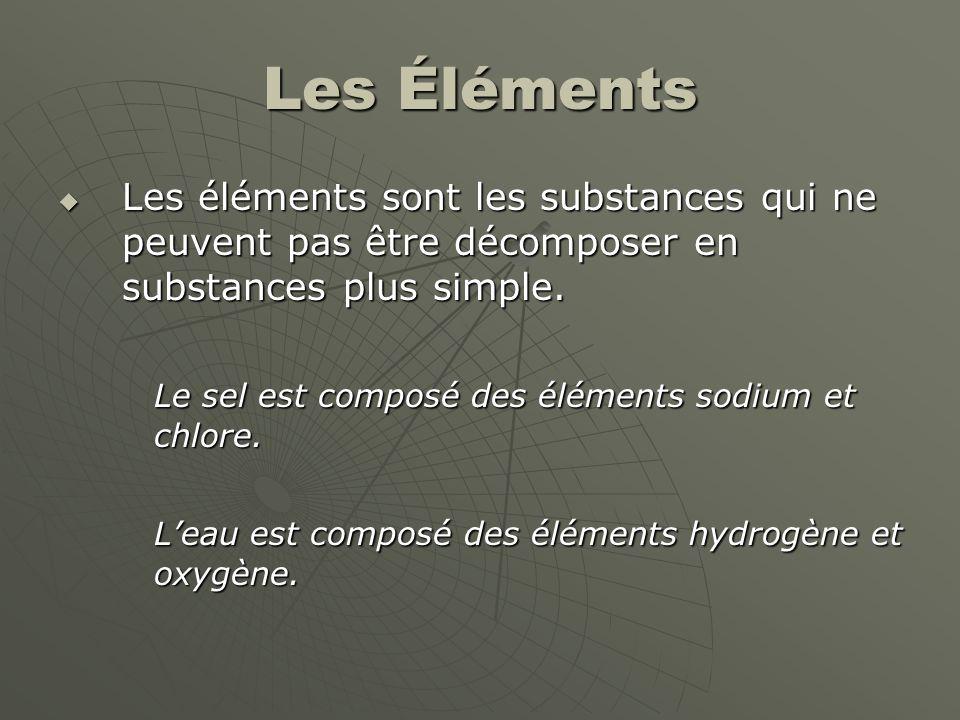 Les Éléments Les éléments sont les substances qui ne peuvent pas être décomposer en substances plus simple.
