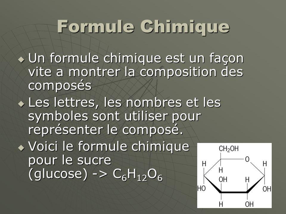 Formule Chimique Un formule chimique est un façon vite a montrer la composition des composés.