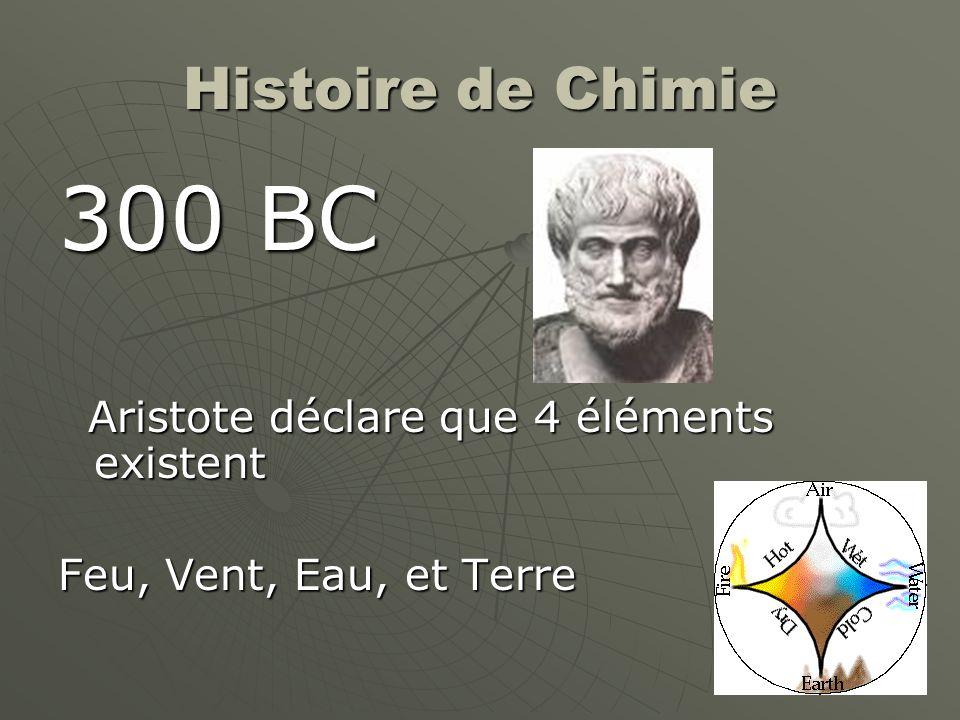 300 BC Histoire de Chimie Aristote déclare que 4 éléments existent