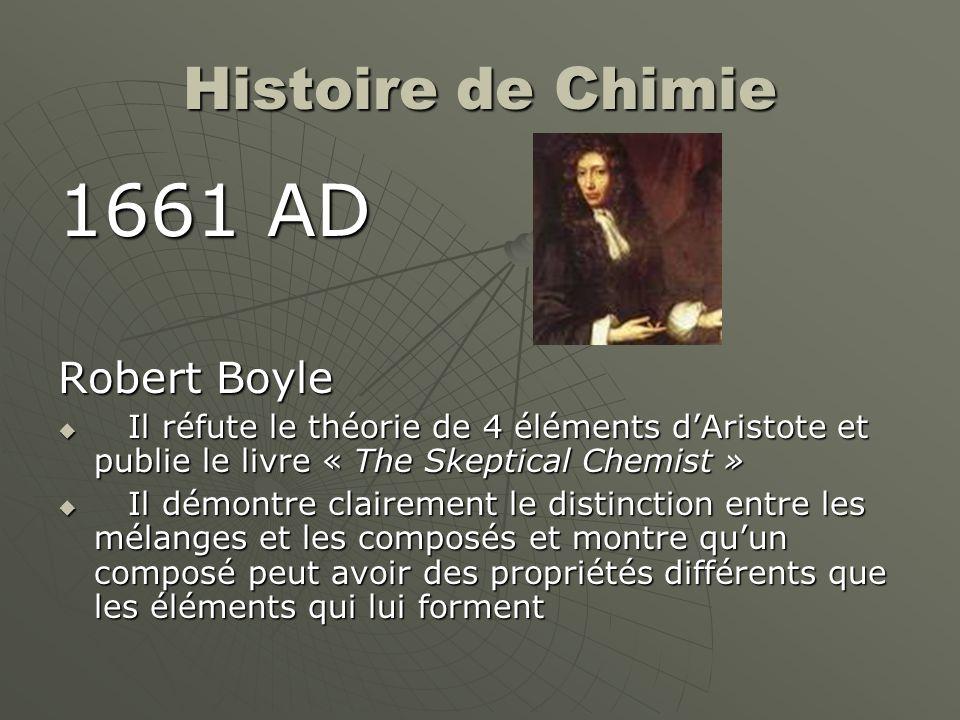 1661 AD Histoire de Chimie Robert Boyle