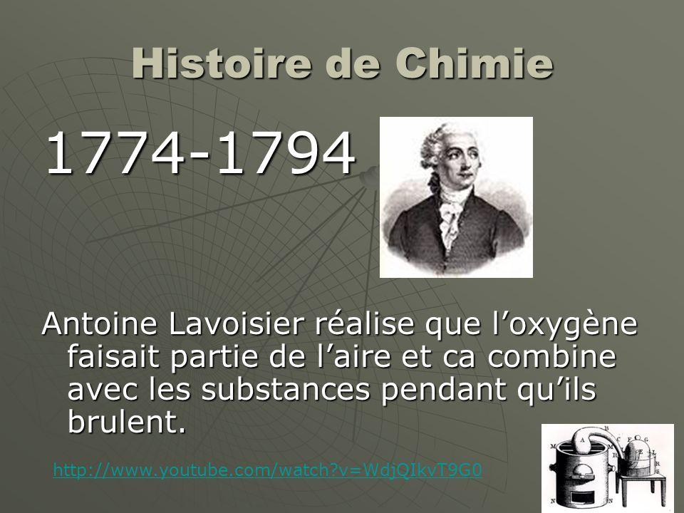 Histoire de Chimie 1774-1794.