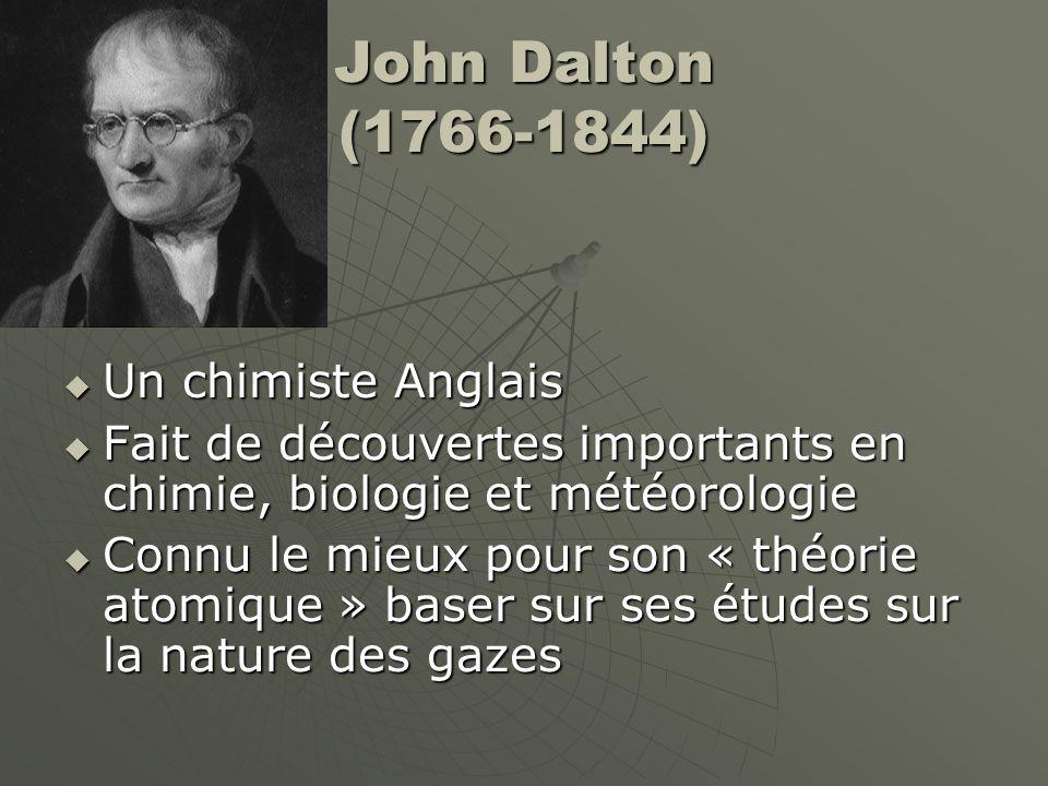 John Dalton (1766-1844) Un chimiste Anglais
