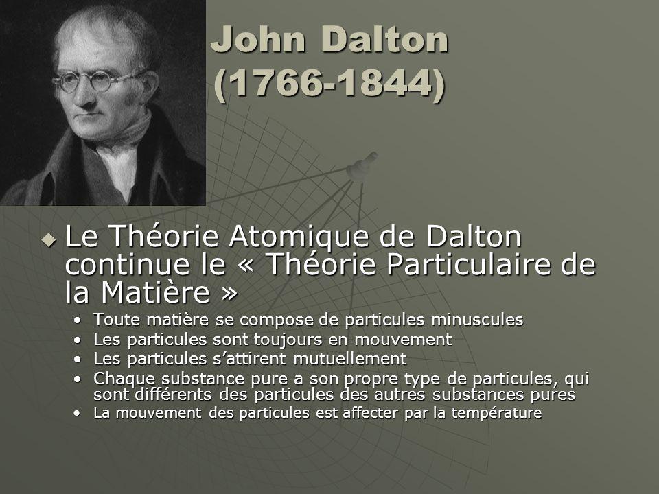 John Dalton (1766-1844) Le Théorie Atomique de Dalton continue le « Théorie Particulaire de la Matière »