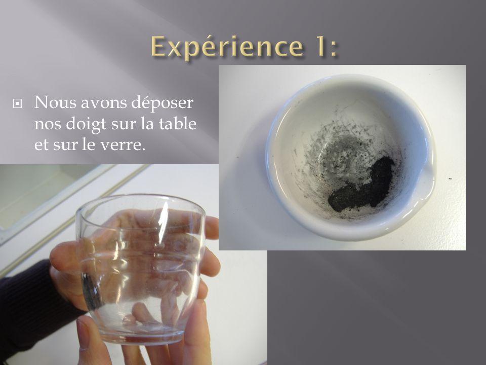 Expérience 1: Nous avons déposer nos doigt sur la table et sur le verre.