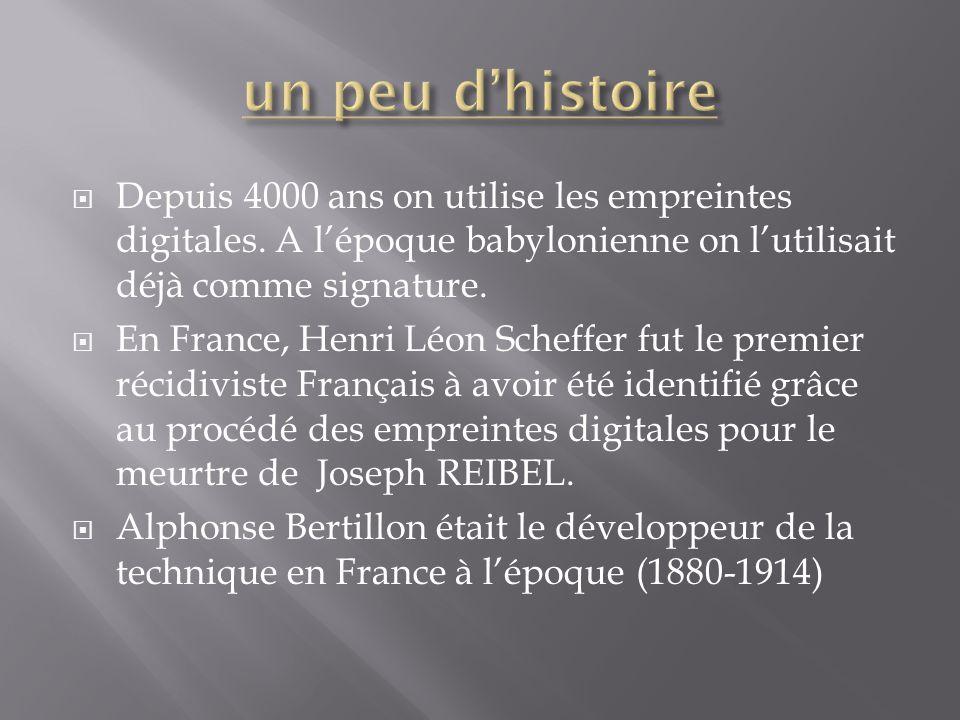 un peu d'histoire Depuis 4000 ans on utilise les empreintes digitales. A l'époque babylonienne on l'utilisait déjà comme signature.