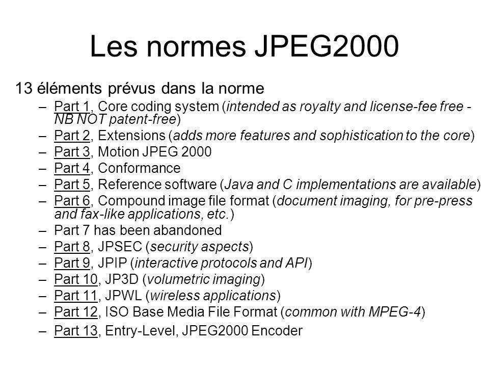 Les normes JPEG2000 13 éléments prévus dans la norme