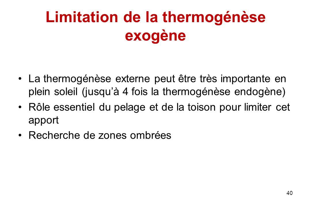 Limitation de la thermogénèse exogène