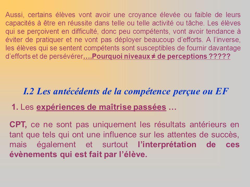 I.2 Les antécédents de la compétence perçue ou EF