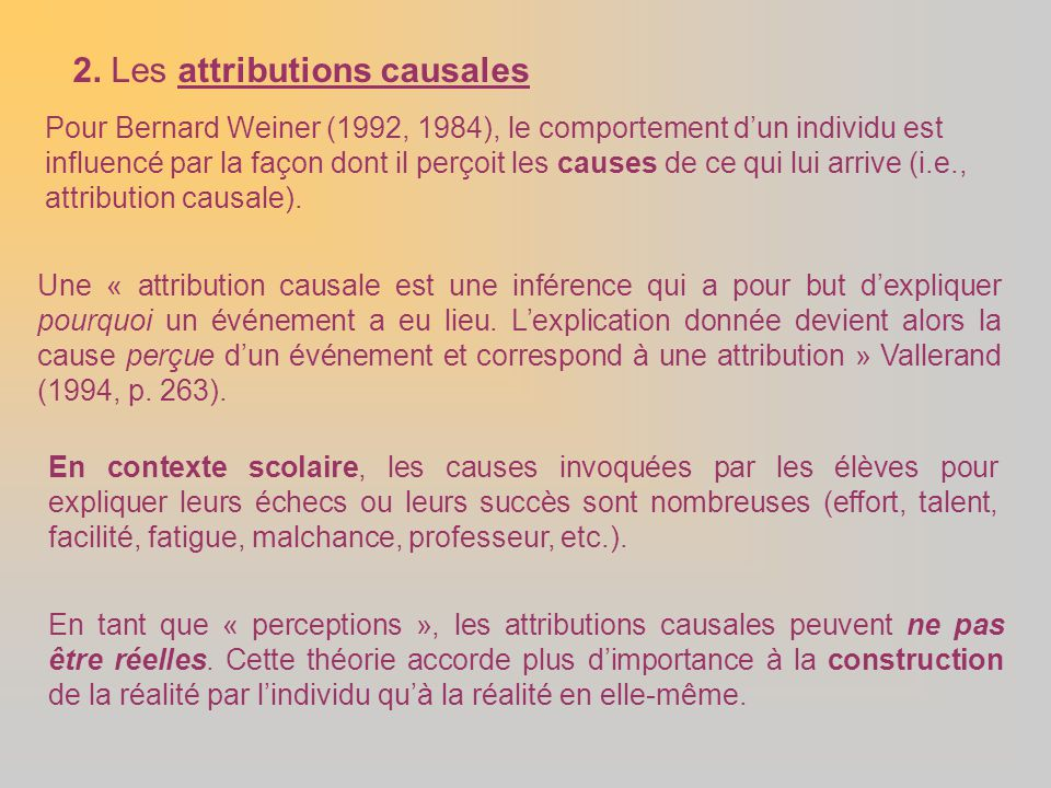 2. Les attributions causales