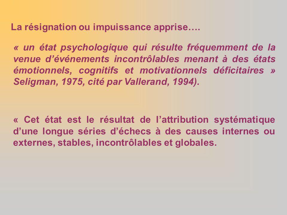 La résignation ou impuissance apprise….