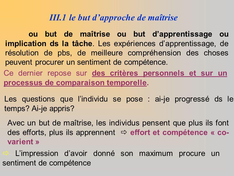 III.1 le but d'approche de maîtrise