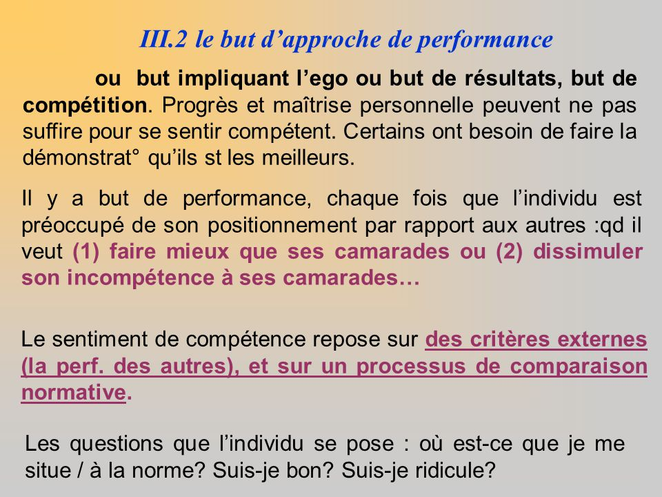 III.2 le but d'approche de performance