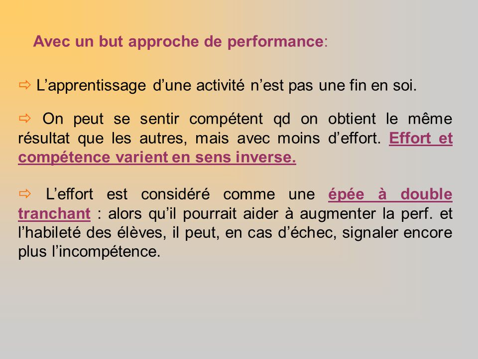 Avec un but approche de performance: