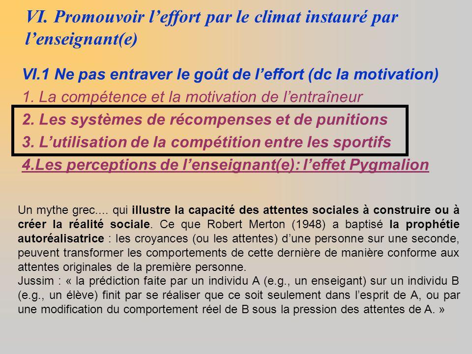 VI. Promouvoir l'effort par le climat instauré par l'enseignant(e)