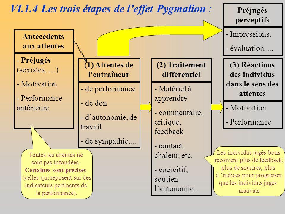 VI.1.4 Les trois étapes de l'effet Pygmalion :