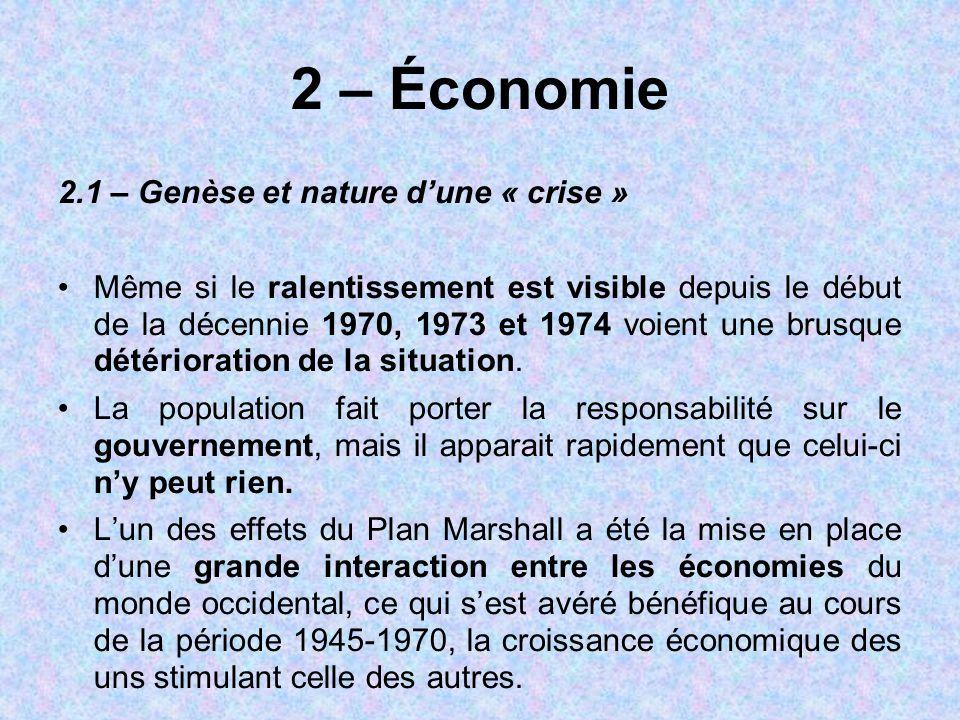 2 – Économie 2.1 – Genèse et nature d'une « crise »