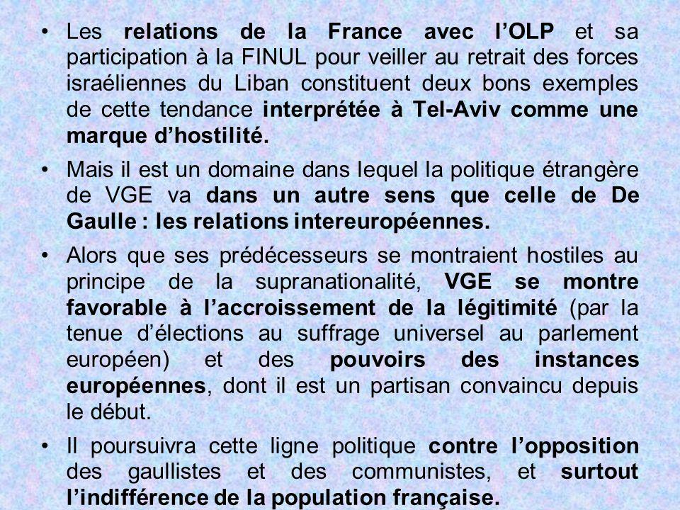 Les relations de la France avec l'OLP et sa participation à la FINUL pour veiller au retrait des forces israéliennes du Liban constituent deux bons exemples de cette tendance interprétée à Tel-Aviv comme une marque d'hostilité.