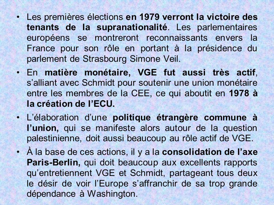 Les premières élections en 1979 verront la victoire des tenants de la supranationalité. Les parlementaires européens se montreront reconnaissants envers la France pour son rôle en portant à la présidence du parlement de Strasbourg Simone Veil.